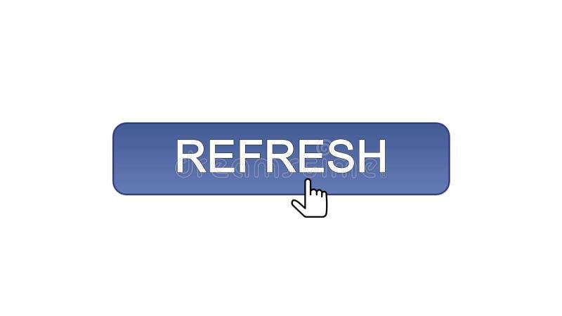 Rinfreschi il bottone dell'interfaccia di web cliccato con il cursore del topo, il colore viola, innovazione illustrazione di stock