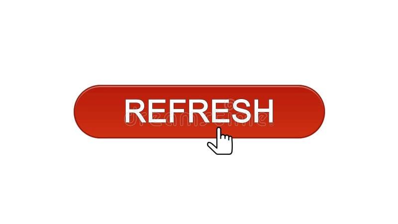 Rinfreschi il bottone dell'interfaccia di web cliccato con il cursore del topo, il rosso di vino, innovazione illustrazione vettoriale