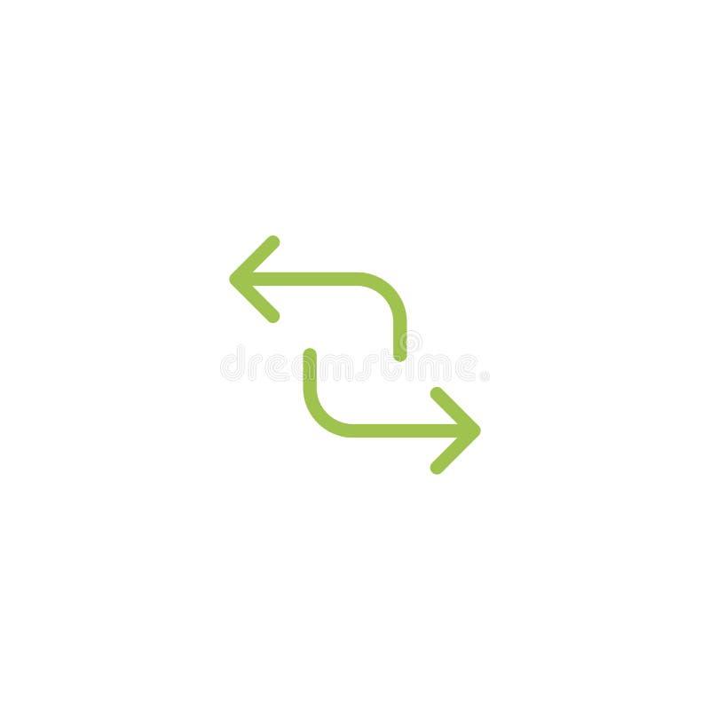 Rinfreschi, ripeti, icona trattata Due verdi di fronte alle frecce isolate su bianco illustrazione vettoriale