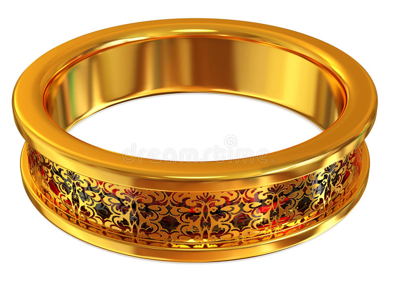 Ring. Gold ring with ruby on white vector illustration