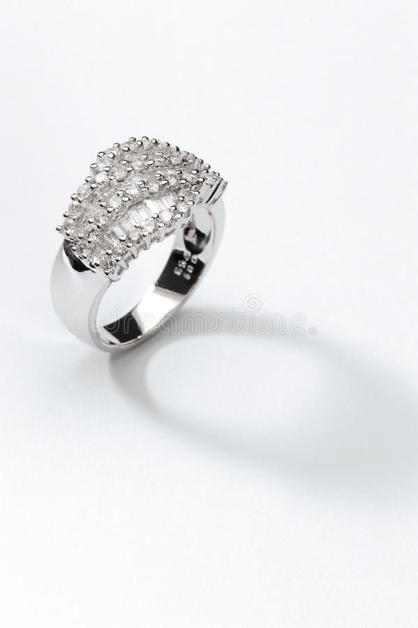 Ring. Silver diamond ring on close up stock photography