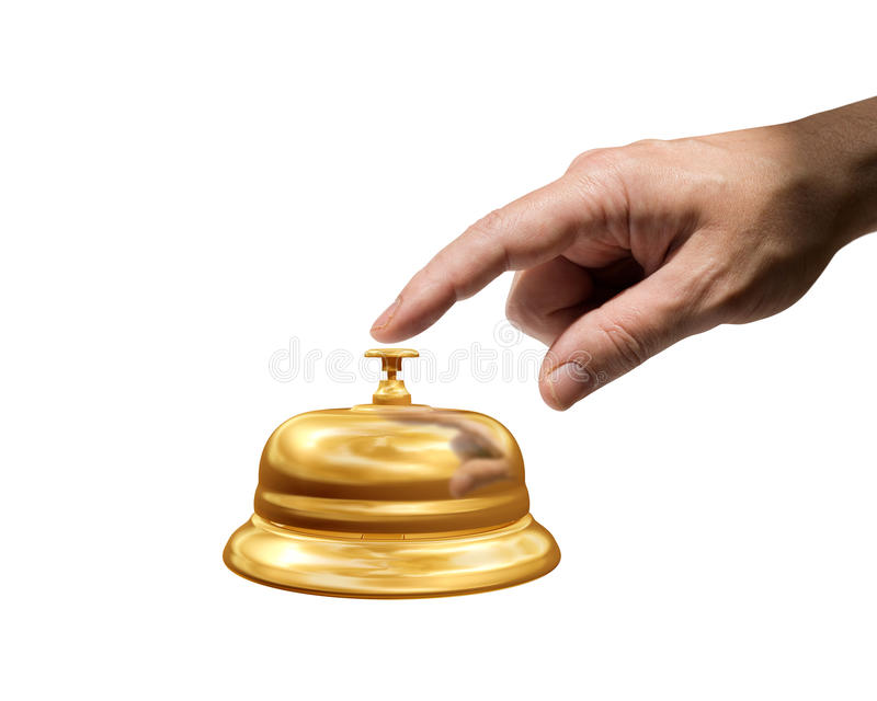 Ring for attention. Isolated illustration of a man ringing a reception bell royalty free stock photography