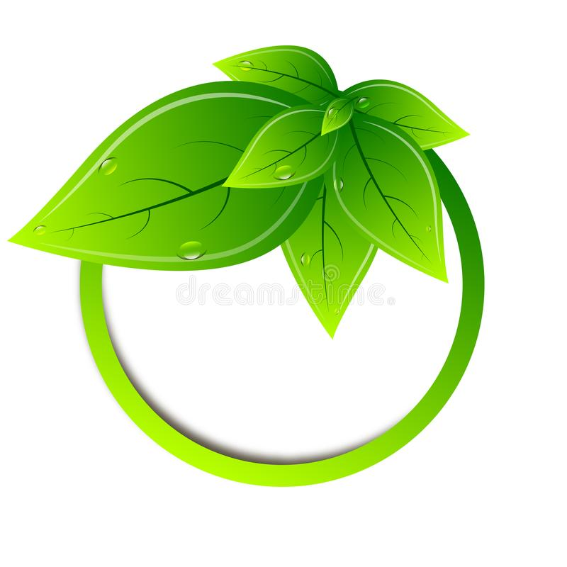 Ring banner with green leaves stock illustration