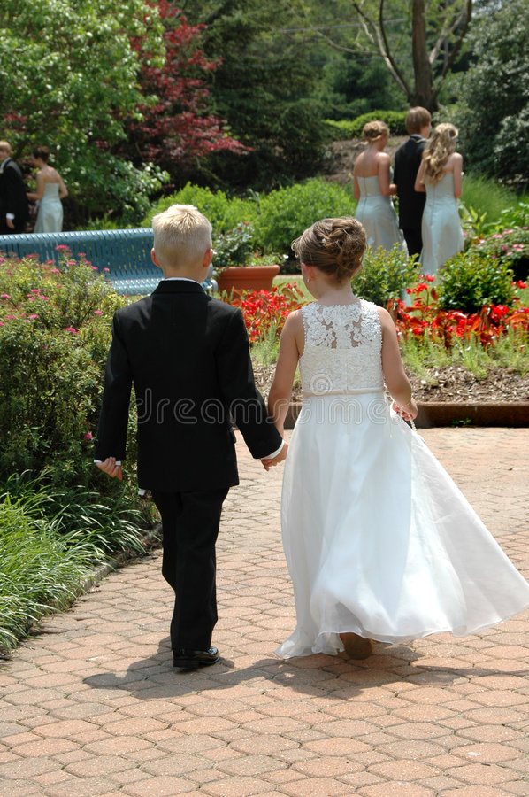 Download Ring Bearer And Flower Girl Stock Image - Image of outside, young: 2581279