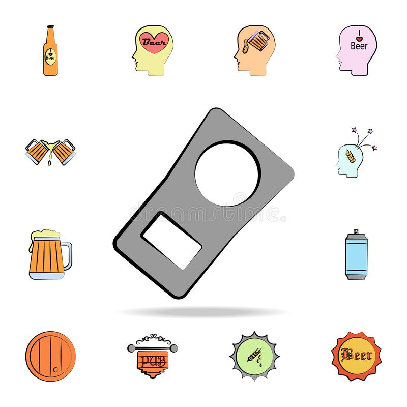 Ring for a beer can colored sketch style icon. Detailed set of color beer in hand drawn style icons. Premium graphic design. One. Of the collection icons for royalty free illustration