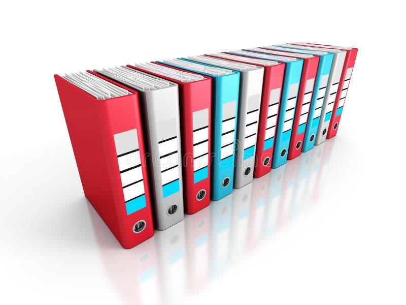 Ring Binder Folders on White Background. 3d Render Illustration stock images
