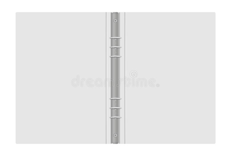 Ring binder - open gray folder with metal rings, vector mockup. Ring binder, vector mockup. Open gray folder with metal rings isolated on white background royalty free illustration