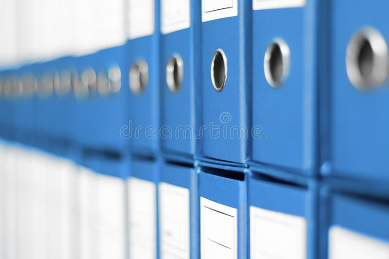 Ring Binders, File archive office shelf. royalty free stock photography