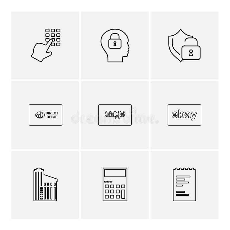 ring blocket, låsa, vara besvärad, skyddat, direkt, vist, ebay, dokument stock illustrationer