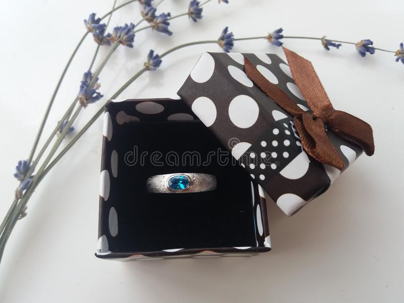 ring with a blue stone royalty free stock image