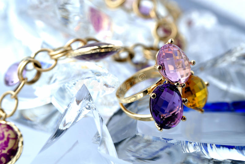 Download Ring with brilliants stock image. Image of chain, violet - 9385589