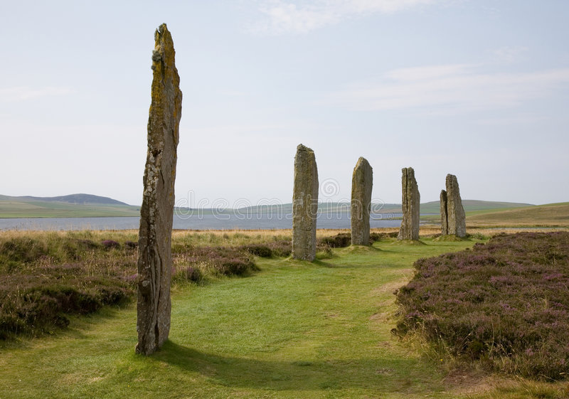 Ring of Brodgar. A henge monument on mainland Orkney, part of the UNESCO Heart of Neolithic Orkney world heritage site royalty free stock photos