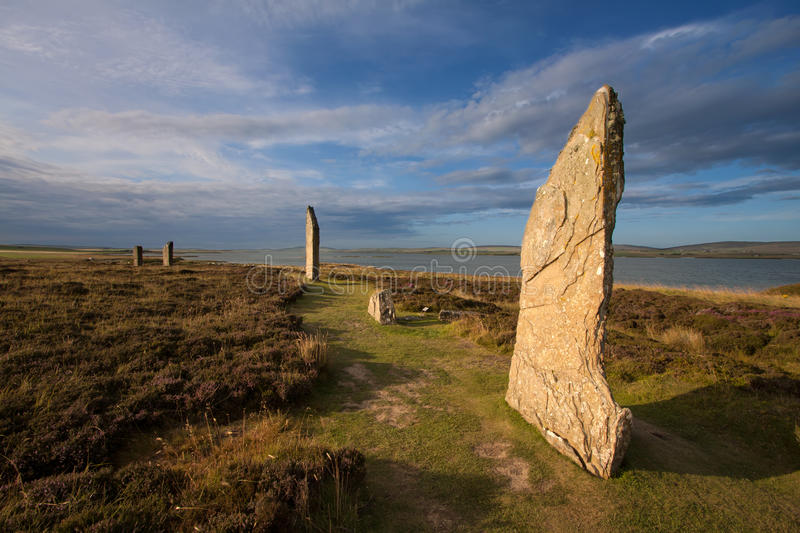 Ring of Brodgar, Orkney, Scotland. The Ring of Brodgar, Orkney, Scotland is a megalithic stone circle henge monument built during the Neolithic era and is the stock image