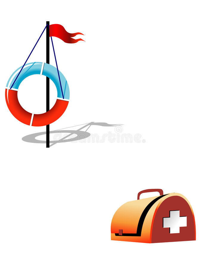 Ring-buoy and first-aid set royalty free illustration