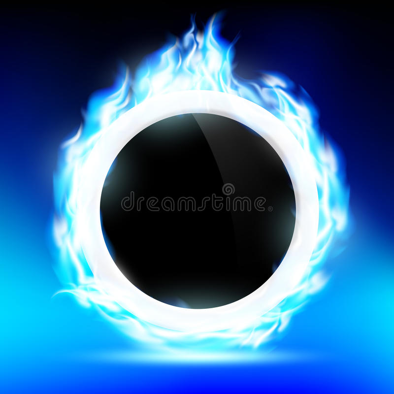 The ring burns blue flame. Background of the ring in the fire. Vector image royalty free illustration