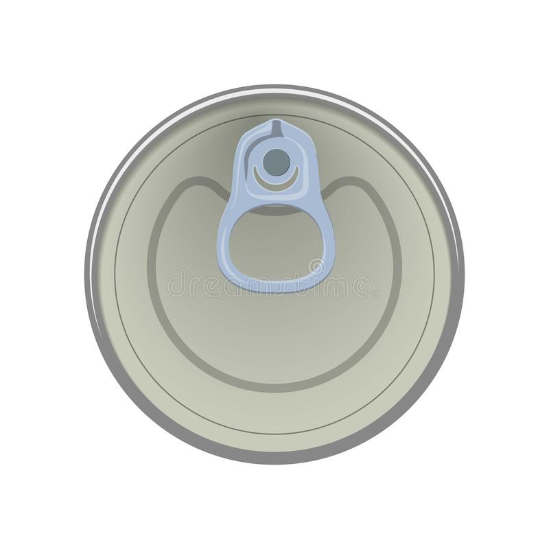 Ring of the can to open of food. Element aluminum cans. Vector illustration. The view from the top. Isolated background royalty free illustration
