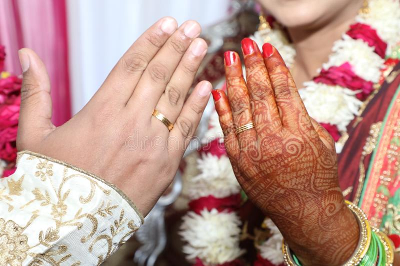 Ring Ceremony , a Hindu wedding ritual wherein bride and groom hand over their rings to each others as symbol of love. Hindu wedding ritual wherein bride and royalty free stock photography