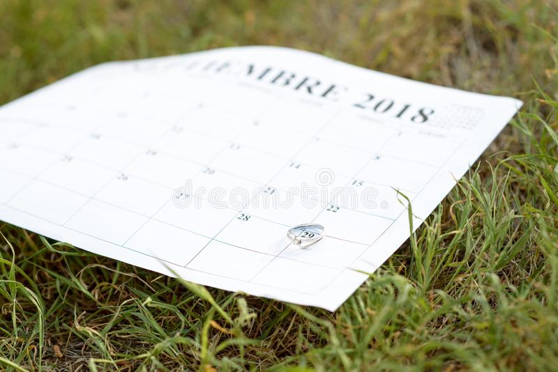 A ring on the date of a wedding. A ring on a date sets a reminder for the wedding day stock images