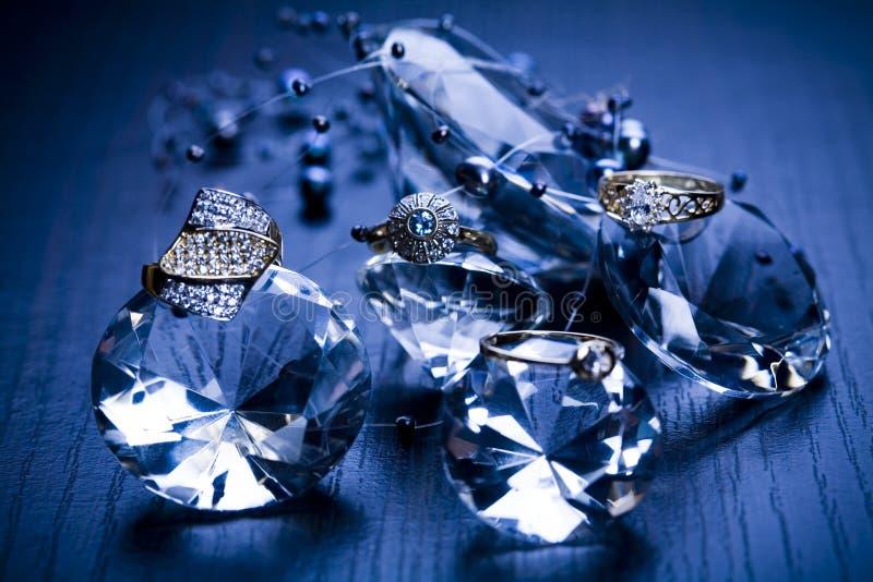 Ring - de achtergrond van Diamanten stock foto's