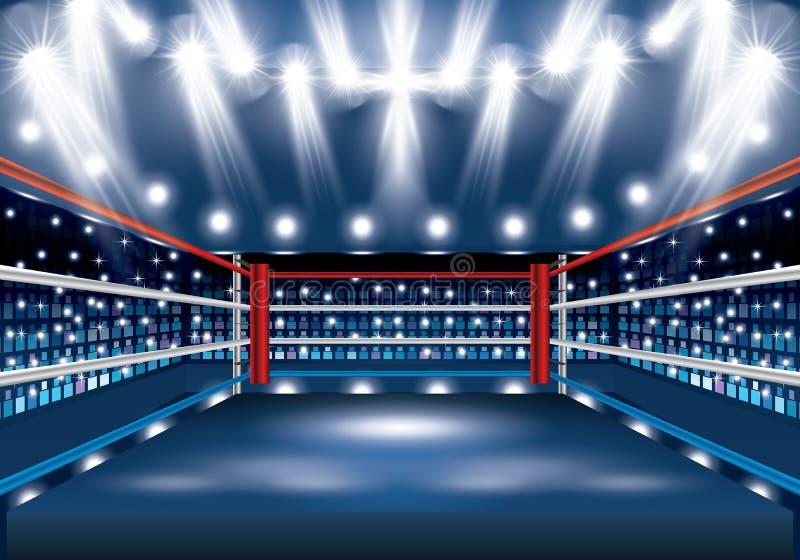 Ring de boxeo con los proyectores stock de ilustración