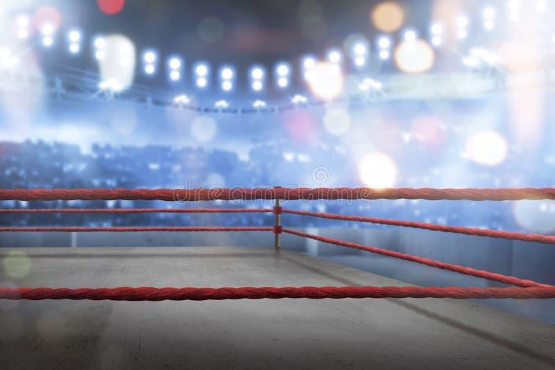 Ring de boxeo vacío con las cuerdas rojas para el partido fotos de archivo