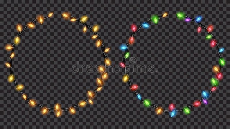 Ring der Weihnachtslichtdurchlässiger feenhaften Lichter geformt stock abbildung