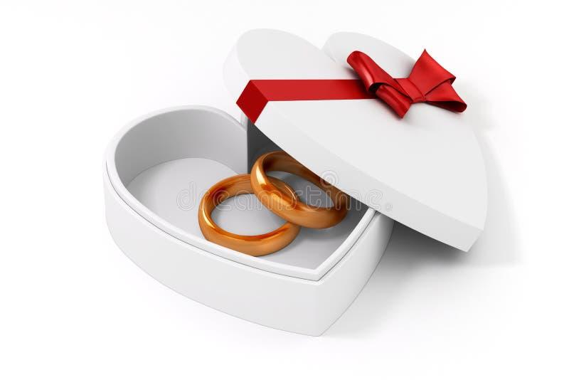 Ring des Gold 3d in einem Herzformfall lizenzfreie abbildung