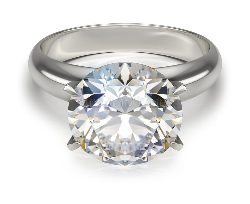 Ring with a diamond. 3D generated image. White background vector illustration