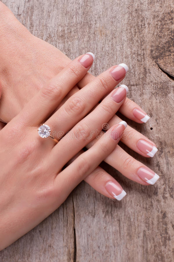 Ring With A Diamond On A Finger. Beautiful French Manicure. Stock ...