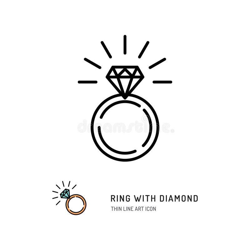 Ring With Diamond Icon, engagement and wedding ring. Line art design, Vector illustration royalty free illustration