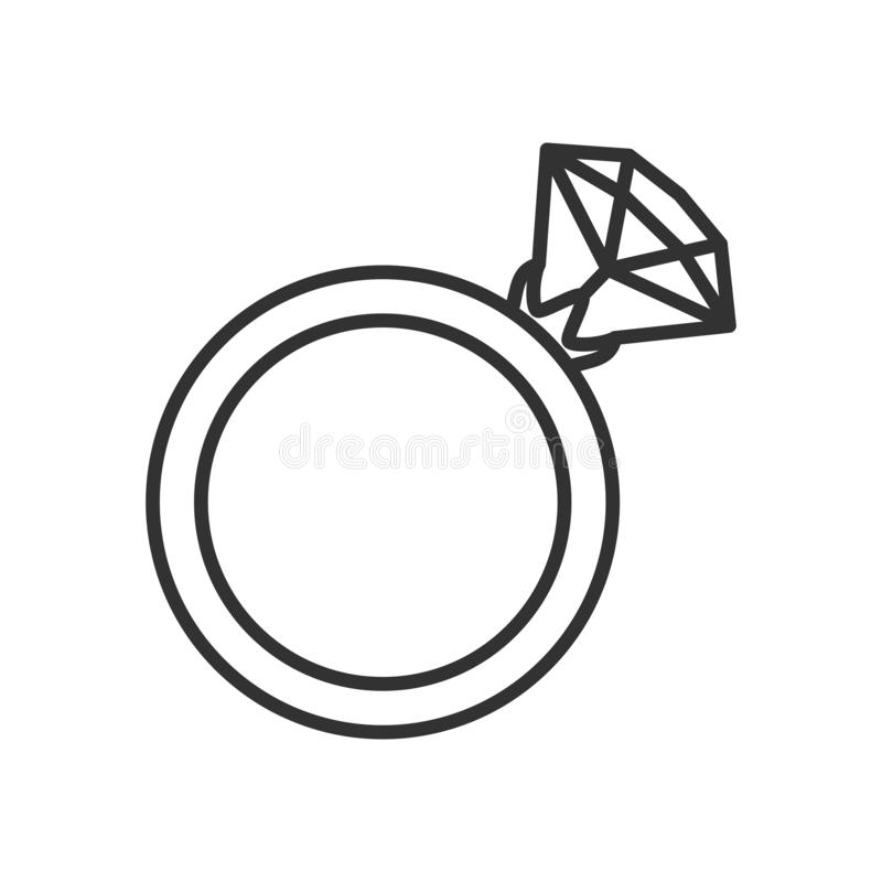 Ring with Diamond Outline Flat Icon on White. Ring with diamond outline flat icon, isolated on white background. Eps file available stock illustration