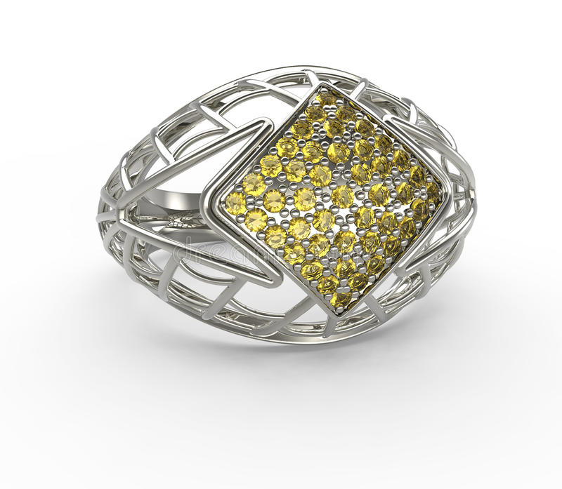 Ring with diamond and pave. 3D illustration stock illustration