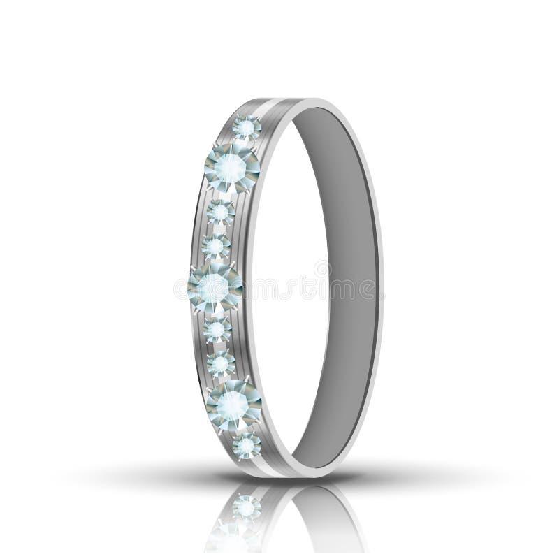 Ring With Diamonds Around Vetora de prata Encrusted ilustração royalty free