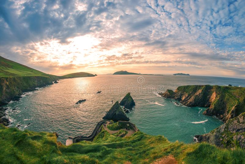 Ring of Dingle Peninsula Kerry Ireland Dunquin Pier Harbor Rock Stone Cliff Landscape Seascape. Amazing view stock image