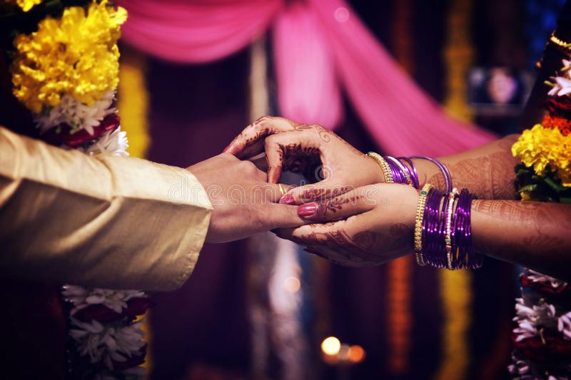 Ring exchange in Indian engagement royalty free stock image