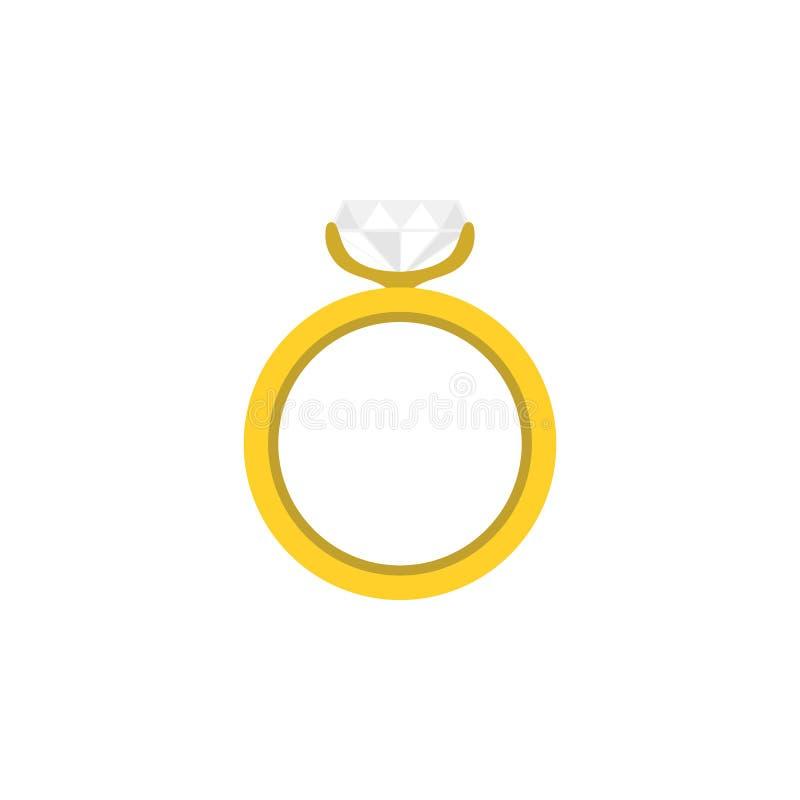 Ring Flat Icon O elemento do vetor do acoplamento pode ser usado para o anel, casamento, conceito de projeto do acoplamento ilustração royalty free