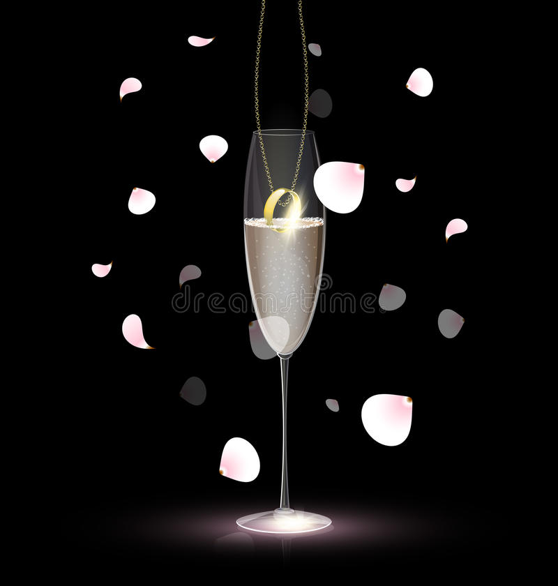 Download Ring In The Glass Of Champagne Stock Photography - Image: 25632402