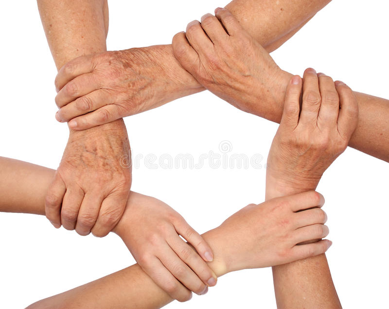 Ring Of Hands Teamwork Stock Images