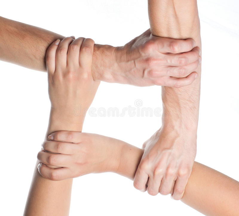 Ring of hands teamwork stock image