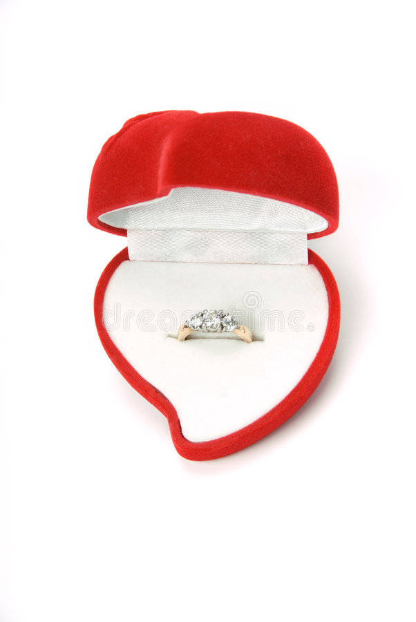 Ring in heart box 002 stock photo image of heart ring for Heart shaped engagement ring box