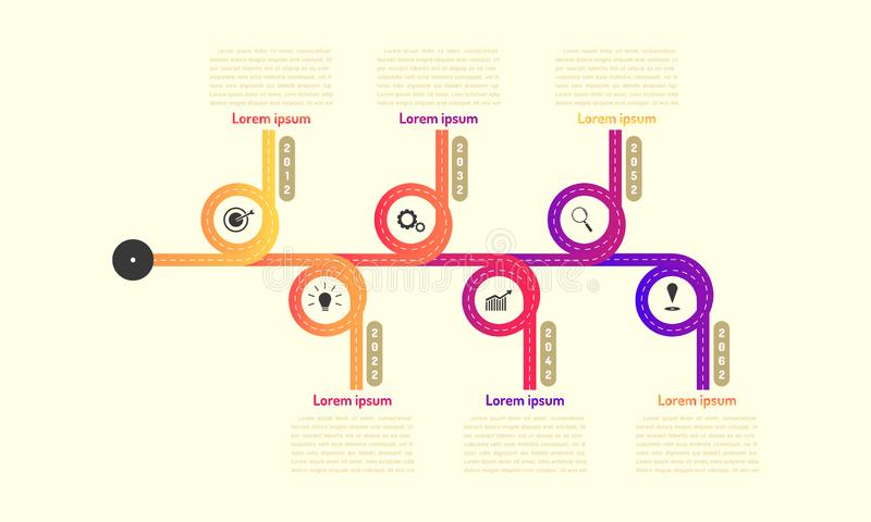 Ring hightway roadmap timeline elements with markpoint graph think search gear target icons. vector illustration eps10 vector illustration