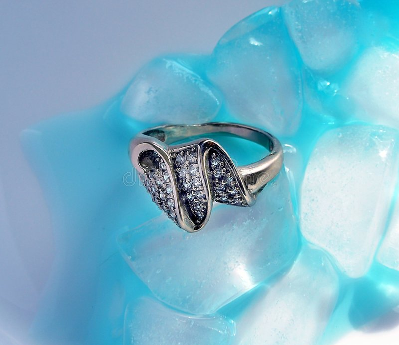 Ring and ice. Jewelry ring with brilliant and ice stock image