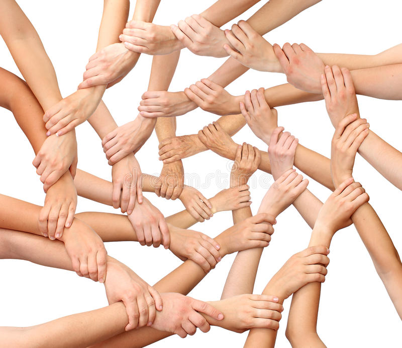 Ring of many hands team royalty free stock photography