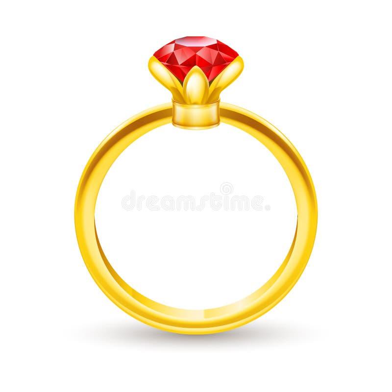 Ring met gem royalty-vrije illustratie