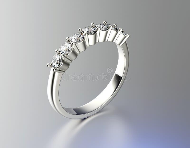 Ring mit Diamanten Gold-und Silber-schwarzer Gewebe-Schmucksache-Hintergrund lizenzfreie abbildung