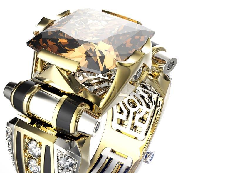 Ring mit Diamanten Gold-und Silber-schwarzer Gewebe-Schmucksache-Hintergrund stockfoto