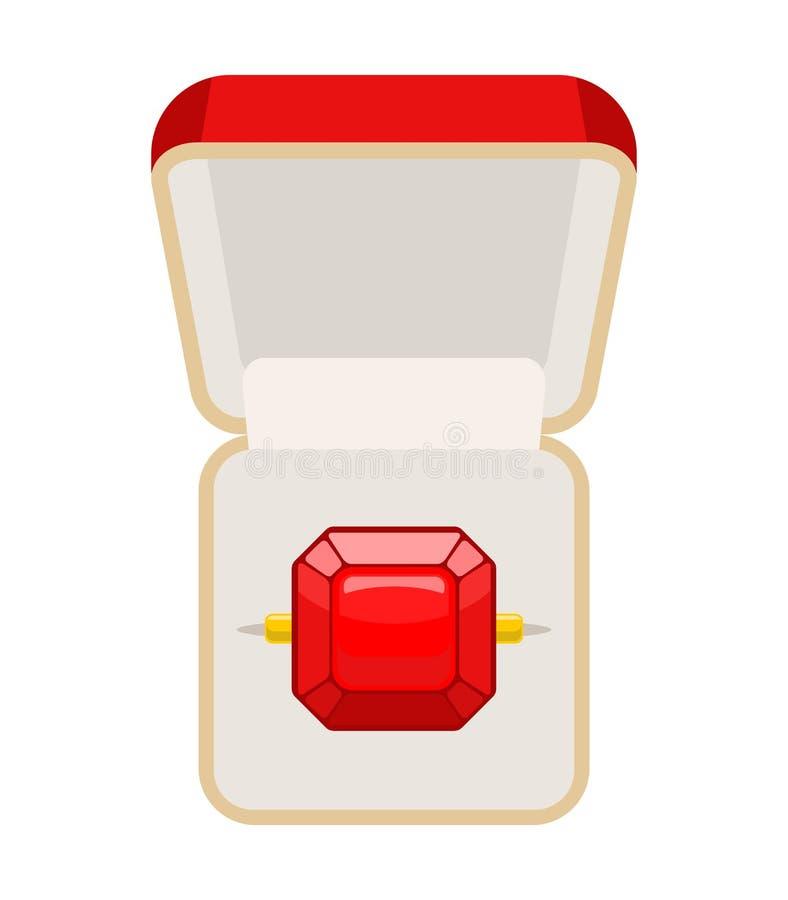 Ring mit Rubin Öffnen Sie Kasten für Schmuck Illustration für Betrothal lizenzfreie abbildung