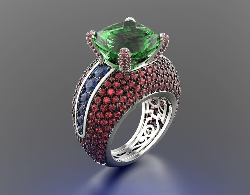 Ring mit Smaragd Gold-und Silber-schwarzer Gewebe-Schmucksache-Hintergrund vektor abbildung