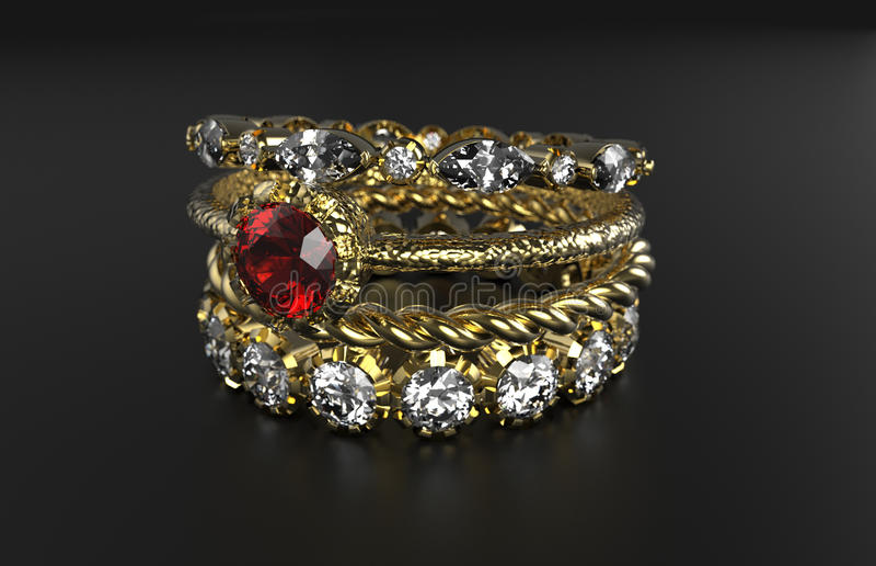 Ring Mixes Gemstone apilable foto de archivo libre de regalías