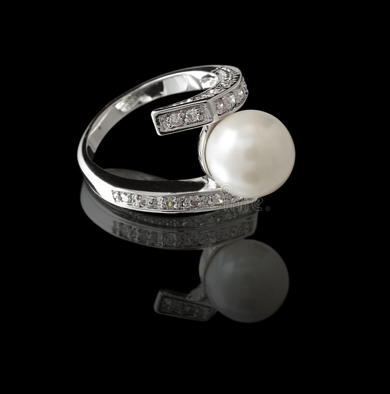 Ring with pearl royalty free stock image
